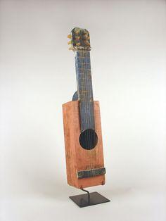 Handmade Primitive Pink String Instrument on Museum Mount, Pirtle Object & Assemblage, Leslie Pirtle