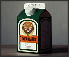 Alcoholic Milk Cartons  Link   Hat Tip More »    While these aren't actual containers for booze, it might be fun to show up at your next party taking a swig of Jagermeister, Jack or Absolut from a milk carton, as envisioned by artist Jørn.