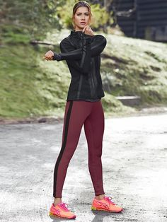 Verbier Jacket 2 | Athleta I love these burgundy tights with the black jacket:)