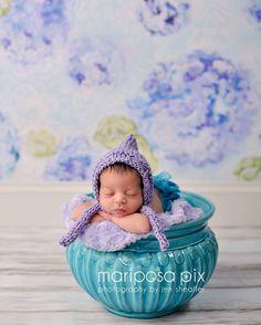 Lavender Newborn Knit Baby Girl Bonnet, Baby Hat, Newborn Photography, Hand Knit Pixie Bonnet on Etsy, $28.00