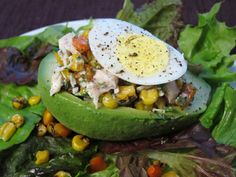 Peruvian food: palta rellena (avocado stuffed with chicken salad).