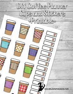 {FREE} DIY Coffee Planner Clips Printable #happyplanner
