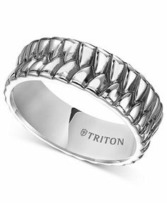Triton Men's Sterling Silver Ring, 8mm Crossover Wedding Band