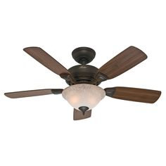 The 44 inch New Bronze Caraway ceiling fan by Hunter is perfect for small rooms. The Caraway comes 90 percent pre-assembled for quick installation.