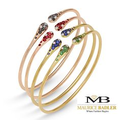 The Iside Bracelets from Ponte Vecchio are flexible cuffs, easy to get on and off and sensational when stacked. 18k gold and precious stones, made in Italy.