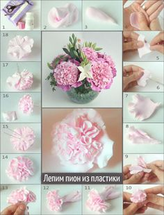 В это уроке мы научимся лепить цветок пиона из самозатвердевающей полимерной глины. Материалы для работы: - пластика белая;- ножницы;- кисточка;- краска акриловая – розовая и белая. 1.