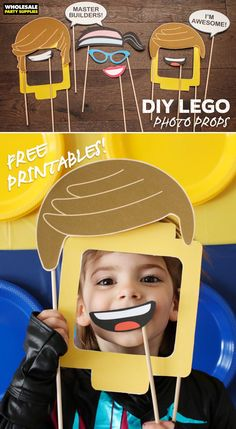 DIY LEGO Photo Booth Props | Party Ideas & Activities by Wholesale Party Supplies