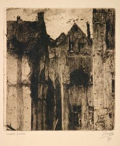 Jules de Bruycker: Old Houses, Brussels 1920 Art Sketches, Art Drawings, Illustrations, Illustration Art, Etching Prints, Collagraph, Monochrom, White Art, Painting & Drawing
