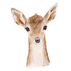 Deer Painting, Animal Art, Baby Deer, Fawn, Deer Art, Kids Wall Art, Woodland Room Decor, Bambi Decor, Wildlife Art, Animal Portrait - 13x19