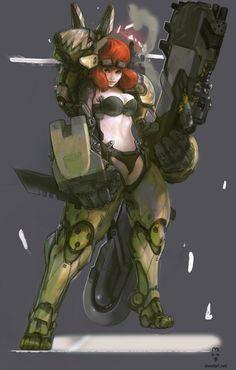 futuristic, sci-fi girl, mech, robot, exoskeleton