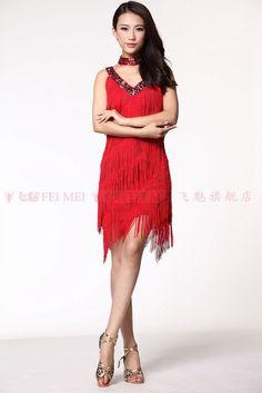 4fb54b8a3791 fringe dresses for sale – Ladies Cocktail Club Latin Dance Party Asymmetric  Fringe V-Neck Dress Clothing