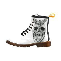 Skull & Moth Leather Martin Boots