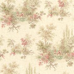 La Belle Maison Pictorial Romance Toile Coral Wallpaper 302-66845