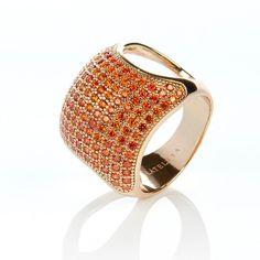 22ct Gold Vermeil Micro pave Cushion Ring - Orange Zircon