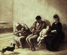 Image result for Wayside Railway Station  by Honore Daumier