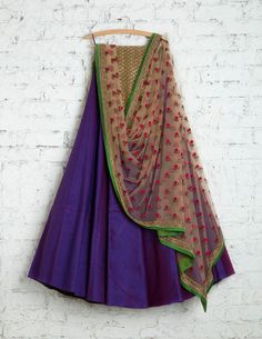Dual shaded Royal Violet Lehenga with gold blouse - absolutely stunning! ♥ From all that is 'fashionable' to all that were, things that are making a revival; My board on Fashion is analogous to the…More Classic Sari Click above VISIT link for Half Saree Designs, Lehenga Designs, Saree Blouse Designs, Indian Dresses, Indian Outfits, Indian Clothes, Ethnic Outfits, Western Outfits, Indian Attire
