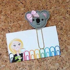 Clip de papel de fieltro | Clip de planificador KOALA | Marcador | Clip de papel | Imán para el refrigerador | Lindo broche | Filofax | 139