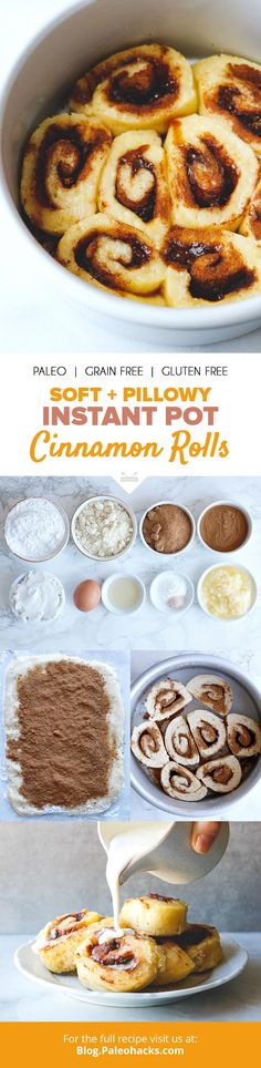 These Gluten-Free Cinnamon Rolls Come Together in Under an Hour in Your Instant Pot Have these soft and pillowy cinnamon rolls ready in a snap with this Instant Pot recipe, via PaleoHacks. In this easy recipe, your Instant Pot cooks cinnamon Gooey Cinnamon Rolls Recipe, Pillsbury Cinnamon Rolls, Cinnamon Rolls From Scratch, Cinnamon Roll Casserole, Gluten Free Cinnamon Rolls, Pumpkin Cinnamon Rolls, Breakfast Dessert, Paleo Dessert, Paleo Breakfast