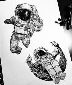 Space Drawings, Pencil Art Drawings, Art Drawings Sketches, Tattoo Sketches, Tattoo Drawings, Astronaut Drawing, Astronaut Tattoo, Planet Tattoos, Art Sketchbook