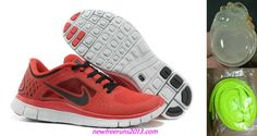 Nike Free Run 3.0 Mens University Red Pure Platinum Black Shoes
