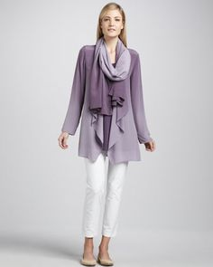 Eileen Fisher Ombre Silk Jacket, Sleeveless Jersey Tunic & Ombre Silk Scarf & Slim Ankle Pants, Petite - Neiman Marcus