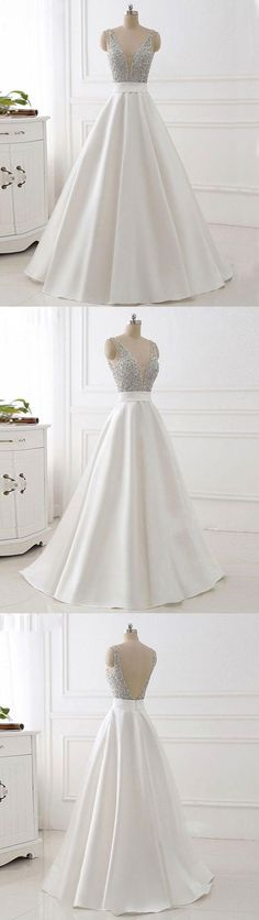 White v neck beads sequin long prom dress, white evening dress
