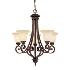 Oxford Rubbed Bronze Five-Light Chandelier with Turinian Scavo Glass