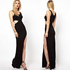Black Crop Waist Slit  Dress