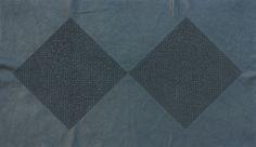 Giulia Ricci - SKIN I, 2014, laser engraved dark blue leather, 45.5 x 77 cm