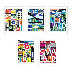 Today I wanted to introduce you the work of the amazing Scandinavian designer Maria Dahlgren! I first came across Maria's work during a trip to IKEA when I picked up one of their KORT Art pac… Ikea Art, Illustrations, Typography Art, Vintage Travel Posters, Baby Room Decor, Layout Inspiration, Lettering Design, Scandinavian Design, Picture Frames