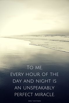 """To me, every hour of the day and night is an unspeakably perfect miracle."" ― Walt Whitman"