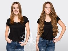 """Before and after ZALA Caramel 24"""" clip in hair extensions"""