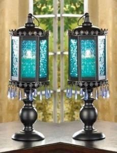 Turquoise Cute idea to glue lanterns on to candlestick holders to make lamps.