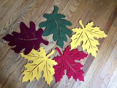 Five Large Fall Leaves in Felt...Large Thick in Rich by trisheye, $17.99