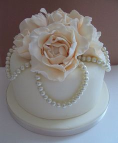 Single Tier White with Pale Pink Flowers and Pearls