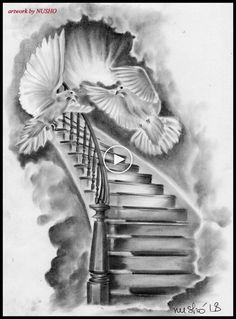 Stairway To Heaven Tattoo, Stairs To Heaven, Forearm Sleeve Tattoos, Best Sleeve Tattoos, Tattoo Sleeve Designs, Angel Sleeve Tattoo, Religion Tattoos, Dove Tattoos, Bild Tattoos