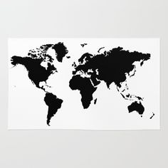 Buy Area & Throw Rugs with design featuring Black and White world map by haroulita and adorn your home with both style and comfort. Available in three sizes (2' x 3', 3' x 5', 4' x 6').