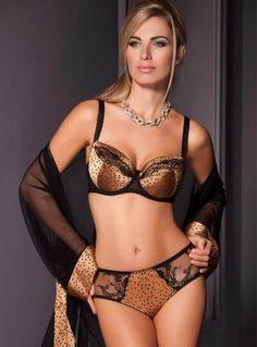 a27efcffb1ab7 Sawren Lingerie - Sexy black lace and satin animal print padded bra.