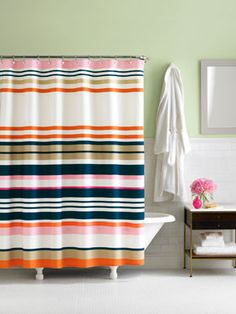 Planning to do some cleaning this three-day weekend? Don't skip the bathroom. Here are some common blunders to avoid. #GetOrganized (Curtains by #KateSpade)