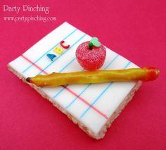 rice krispie treat notepad, pretzel pencil wrapped in fruit roll up, gumdrop apple
