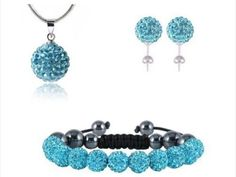 Shamballa-Strass-Schmuck-Set-Armband-Ohrringe-Kette-Anhaenger-Silber-oder-Tuerkis