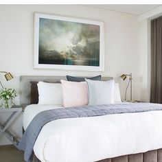 """Eadie says """"Spotted! Another beautiful bedroom styled by the lovely Jacinta @designscout_interiors  and photographed by @tanikablair_design . We spot some Luca feather filled cushions, oh yes we do! Beautiful job gals. Thanks for including Eadie Lifestyle.""""  www.eadielifestyle.com.au #eadiecushions #featherfilledcushions #beautifulstyle #clevercookies #bedroomhaven #naturalfibres #lucalinen"""