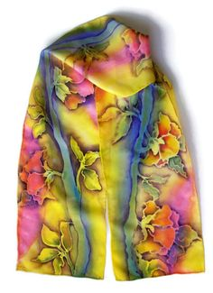 Caribbean Color Roses Hand Painted Silk Scarf by SilkMari on Etsy, $36.00