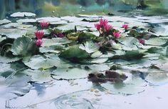 Adisorn Pornsirikarn Watercolor Water, Watercolor Drawing, Watercolor Landscape, Watercolor Flowers, Landscape Paintings, Lotus Painting, Art Aquarelle, Lotus Art, Book Flowers