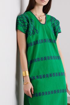 San Juan Mexican Hand Woven Traditional Ethnic Huipil Handmade Top. on Loom Fabric With a Stripe Pattern Green and Beige Loose Top