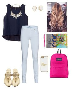"""Set 2//first day of school//rtd📚"" by mimichavi ❤ liked on Polyvore featuring Banana Republic, ABS by Allen Schwartz, 7 For All Mankind, JanSport, Mulberry, Lilly Pulitzer, Tory Burch, Kendra Scott, BaubleBar and katesbtsb2k16"