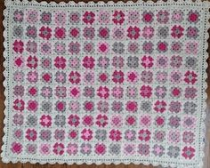 Pink, Cream, Beige and Grey Baby Blanket, Granny Square Crocheted Floral Blanket, Cot Blanket I think we can all agree that every newborn