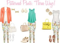 """""""Patterned Pants - Three Ways!"""" by ask-taylor on Polyvore"""