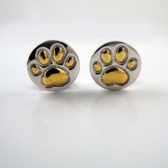 Paw Print Sterling Silver with Gold Post Earrings 18k Gold Earrings, Animal Jewelry, Sterling Silver Pendants