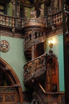 Wood Spiral Staircase, Peles Castle, Romania